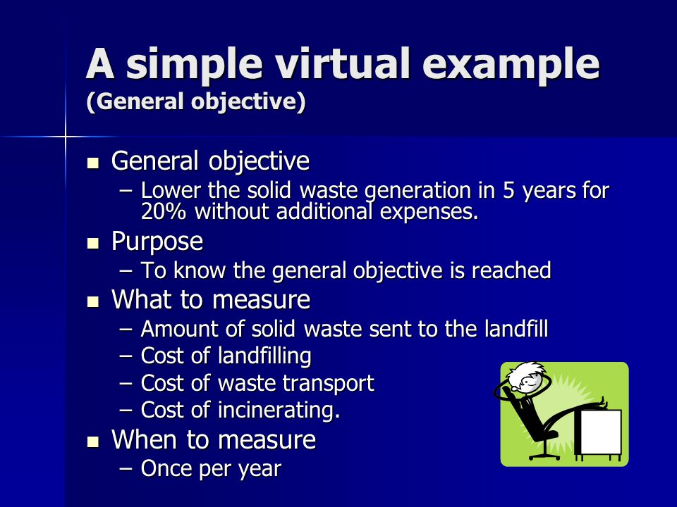A simple virtual example (General objective) General objective General objective –Lower the solid waste generation in 5 years for 20% without additional expenses.