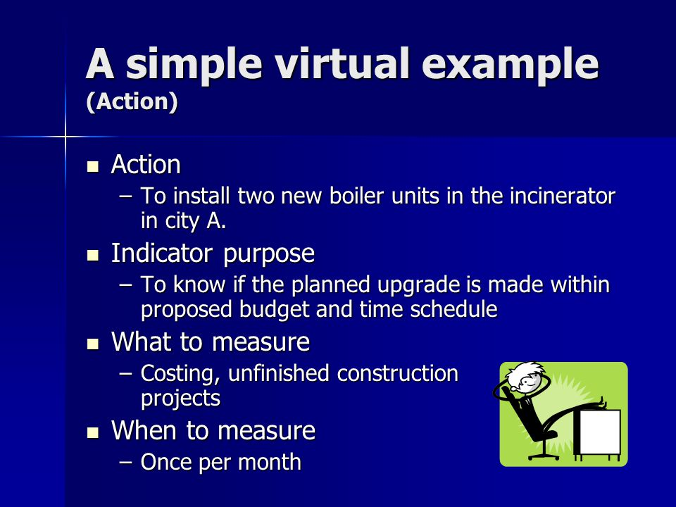 A simple virtual example (Action) Action Action –To install two new boiler units in the incinerator in city A.
