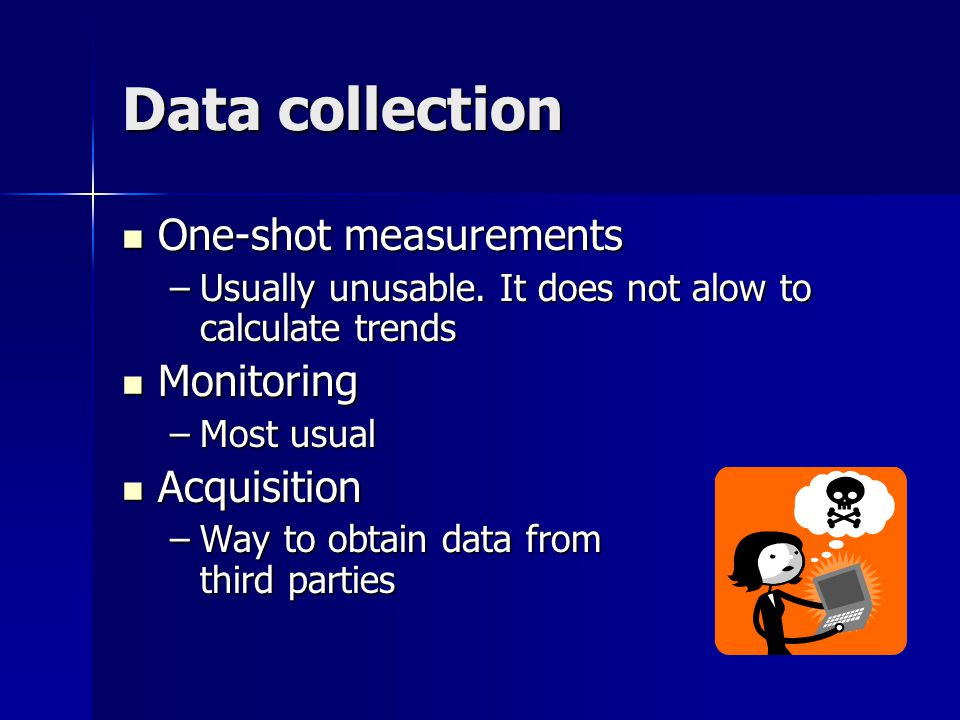 Data collection One-shot measurements One-shot measurements –Usually unusable.