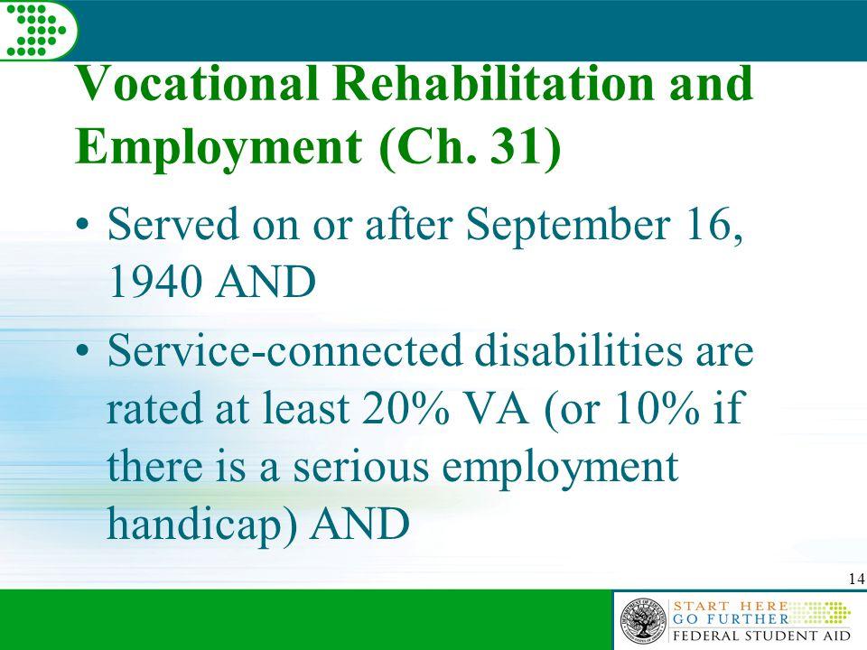 14 Vocational Rehabilitation and Employment (Ch.