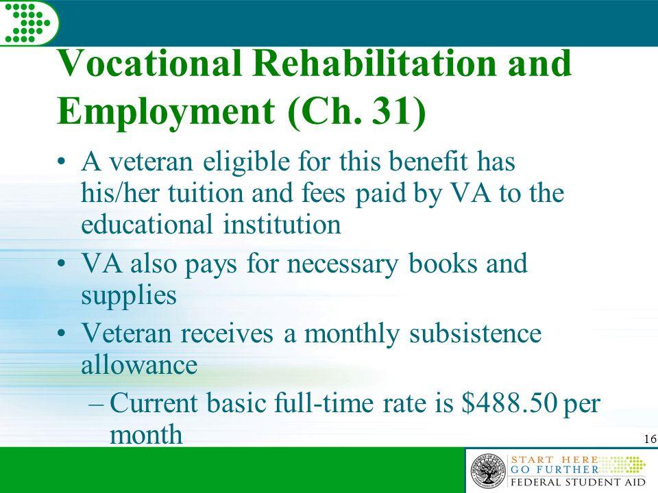 16 Vocational Rehabilitation and Employment (Ch.