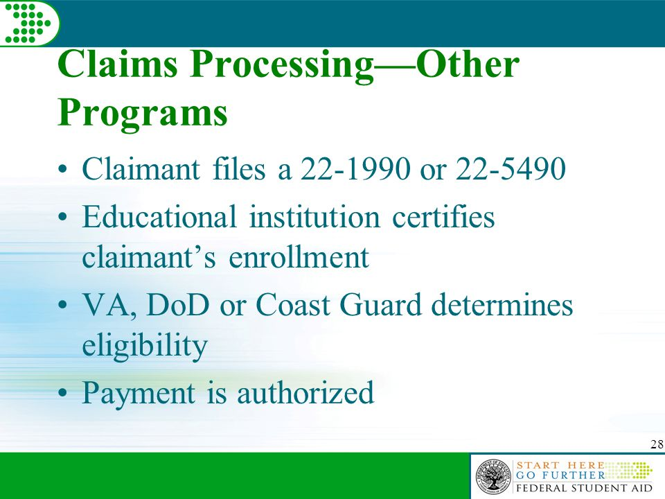 28 Claims Processing—Other Programs Claimant files a 22-1990 or 22-5490 Educational institution certifies claimant's enrollment VA, DoD or Coast Guard
