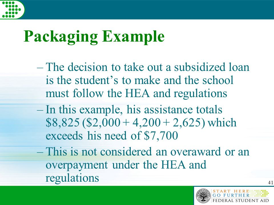 41 Packaging Example –The decision to take out a subsidized loan is the student's to make and the school must follow the HEA and regulations –In this example, his assistance totals $8,825 ($2,000 + 4,200 + 2,625) which exceeds his need of $7,700 –This is not considered an overaward or an overpayment under the HEA and regulations