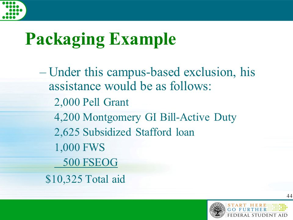 44 Packaging Example –Under this campus-based exclusion, his assistance would be as follows: 2,000 Pell Grant 4,200 Montgomery GI Bill-Active Duty 2,625 Subsidized Stafford loan 1,000 FWS 500 FSEOG $10,325 Total aid