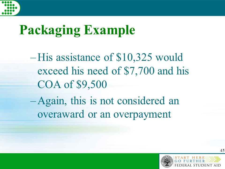 45 Packaging Example –His assistance of $10,325 would exceed his need of $7,700 and his COA of $9,500 –Again, this is not considered an overaward or an overpayment