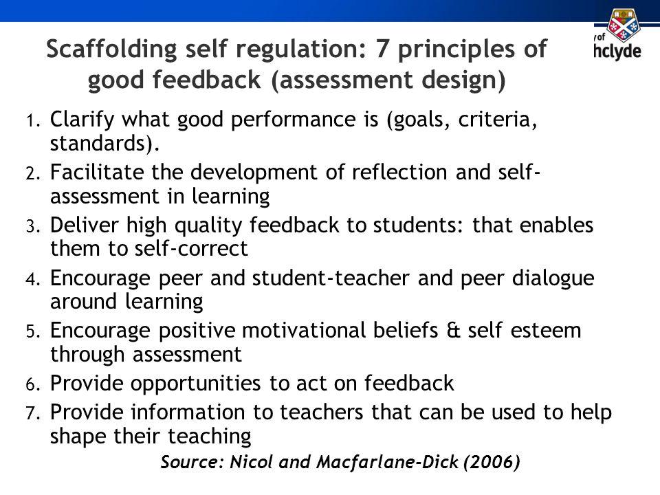Scaffolding self regulation: 7 principles of good feedback (assessment design) 1. Clarify what good performance is (goals, criteria, standards). 2. Fa