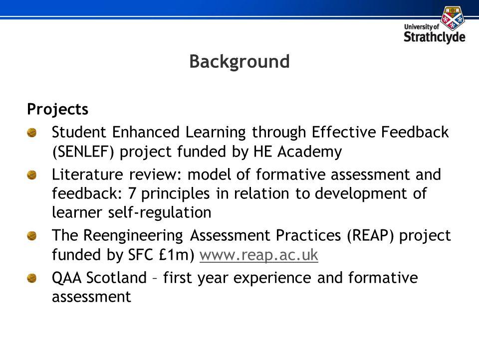 Scaffolding self regulation: 7 principles of good feedback (assessment design) 1.