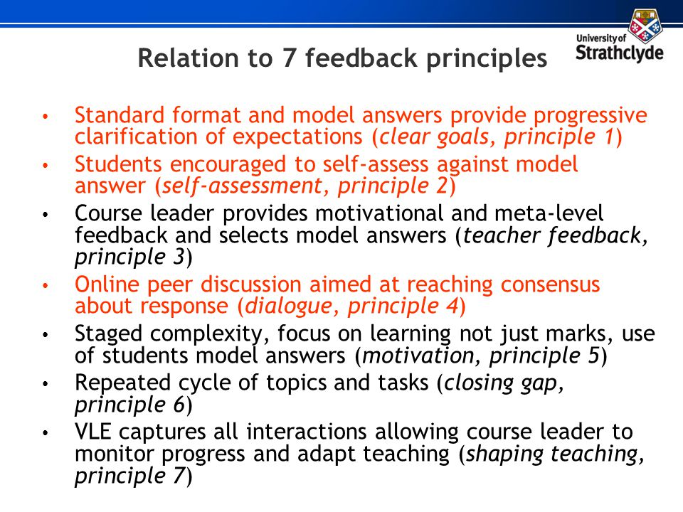 Relation to 7 feedback principles Standard format and model answers provide progressive clarification of expectations (clear goals, principle 1) Stude
