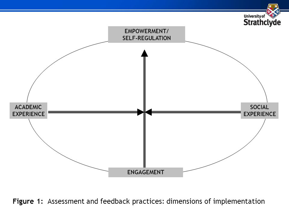 EMPOWERMENT/ SELF-REGULATION SOCIAL EXPERIENCE ENGAGEMENT Figure 1: Assessment and feedback practices: dimensions of implementation ACADEMIC EXPERIENC