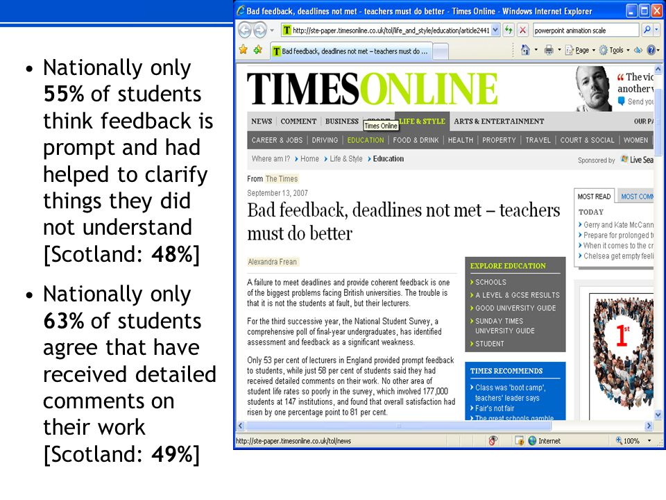 Nationally only 55% of students think feedback is prompt and had helped to clarify things they did not understand [Scotland: 48%] Nationally only 63%