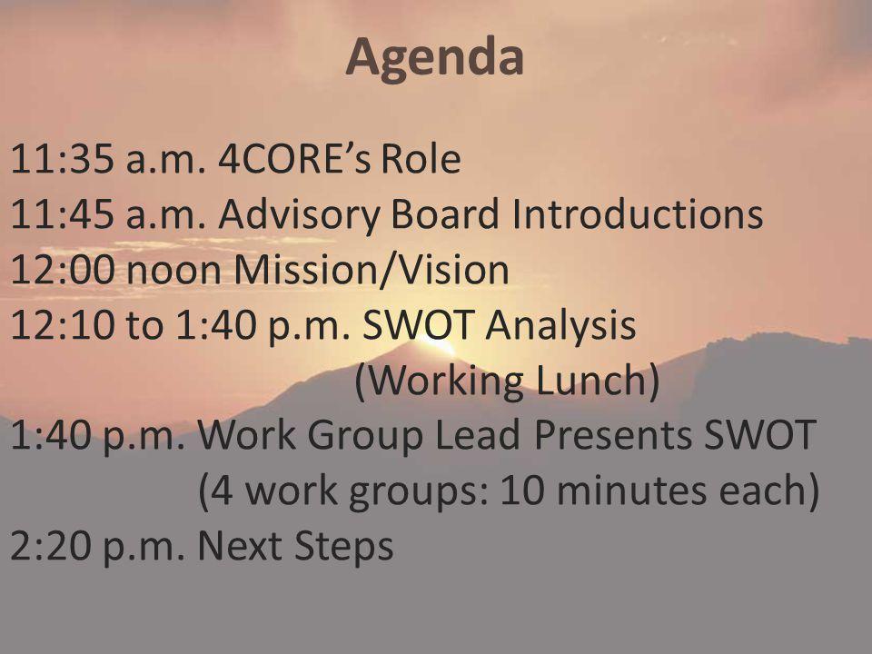 Agenda 11:35 a.m. 4CORE's Role 11:45 a.m.