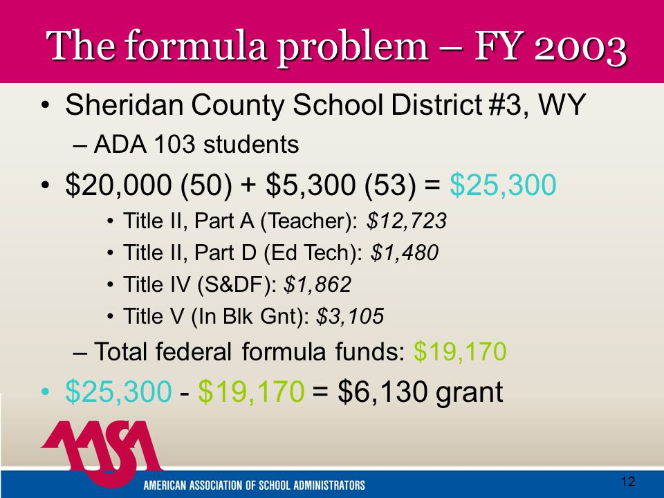 12 The formula problem – FY 2003 Sheridan County School District #3, WY –ADA 103 students $20,000 (50) + $5,300 (53) = $25,300 Title II, Part A (Teacher): $12,723 Title II, Part D (Ed Tech): $1,480 Title IV (S&DF): $1,862 Title V (In Blk Gnt): $3,105 –Total federal formula funds: $19,170 $25,300 - $19,170 = $6,130 grant