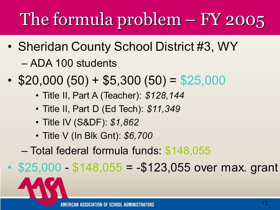 13 The formula problem – FY 2005 Sheridan County School District #3, WY –A–ADA 100 students $20,000 (50) + $5,300 (50) = $25,000 Title II, Part A (Teacher): $128,144 Title II, Part D (Ed Tech): $11,349 Title IV (S&DF): $1,862 Title V (In Blk Gnt): $6,700 –T–Total federal formula funds: $148,055 $25,000 - $148,055 = -$123,055 over max.