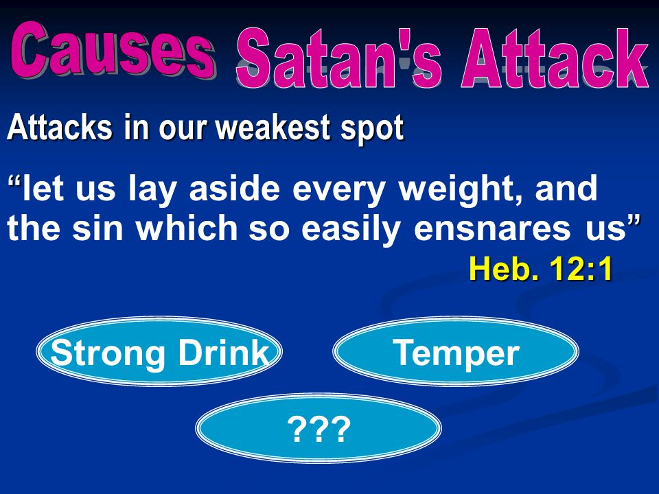 """Attacks in our weakest spot """" """" Heb. 12:1 """" let us lay aside every weight, and the sin which so easily ensnares us """" Heb. 12:1 Strong DrinkTemper ???"""