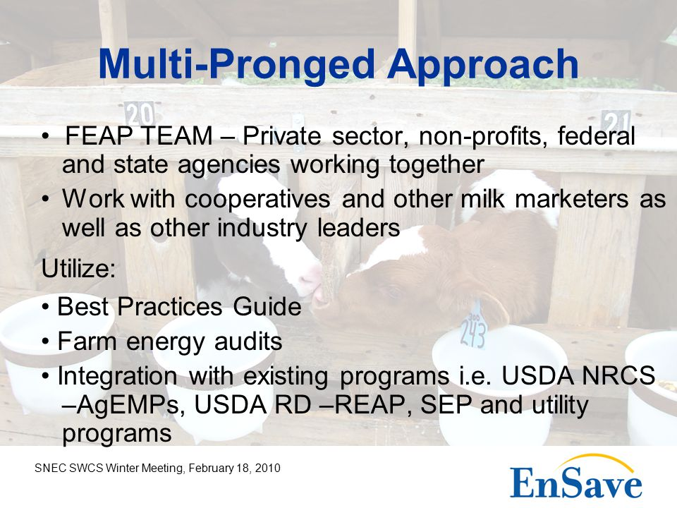 SNEC SWCS Winter Meeting, February 18, 2010 Multi-Pronged Approach FEAP TEAM – Private sector, non-profits, federal and state agencies working together Work with cooperatives and other milk marketers as well as other industry leaders Utilize: Best Practices Guide Farm energy audits Integration with existing programs i.e.