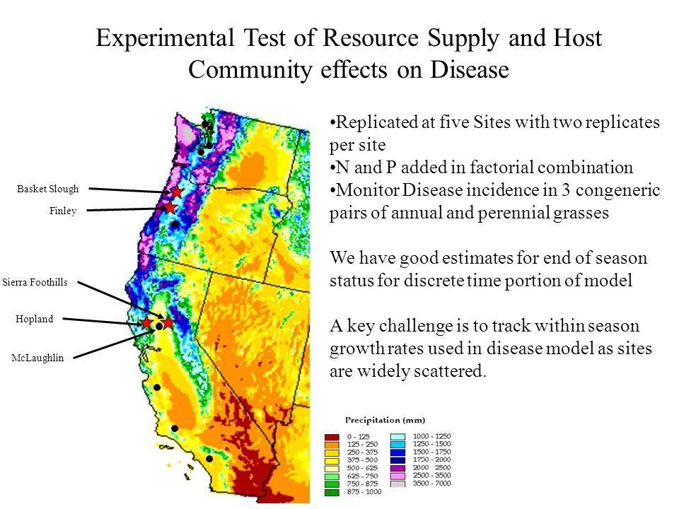 Hopland McLaughlin Finley Basket Slough Sierra Foothills Experimental Test of Resource Supply and Host Community effects on Disease Replicated at five Sites with two replicates per site N and P added in factorial combination Monitor Disease incidence in 3 congeneric pairs of annual and perennial grasses We have good estimates for end of season status for discrete time portion of model A key challenge is to track within season growth rates used in disease model as sites are widely scattered.