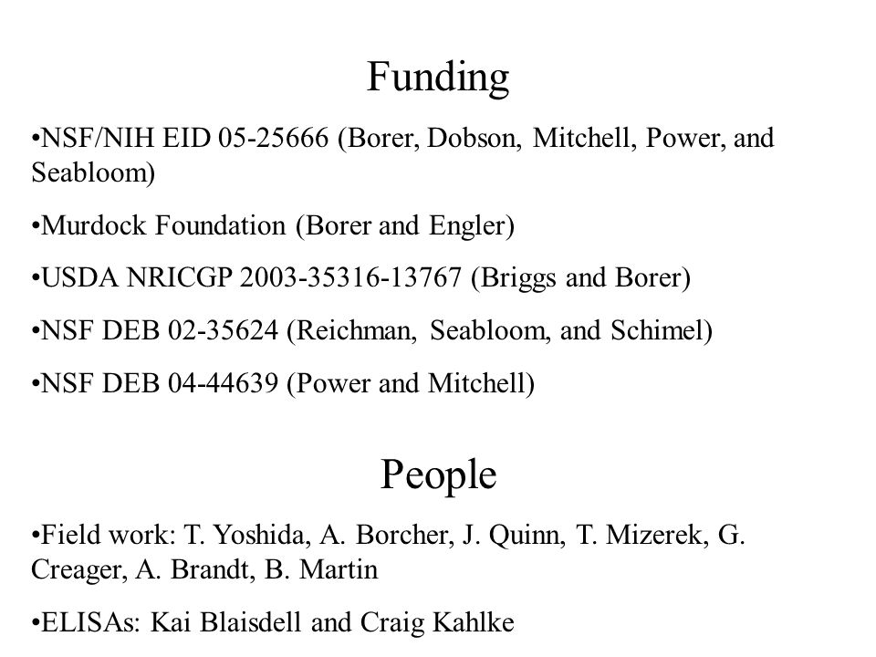 Funding NSF/NIH EID 05-25666 (Borer, Dobson, Mitchell, Power, and Seabloom) Murdock Foundation (Borer and Engler) USDA NRICGP 2003-35316-13767 (Briggs and Borer) NSF DEB 02-35624 (Reichman, Seabloom, and Schimel) NSF DEB 04-44639 (Power and Mitchell) People Field work: T.