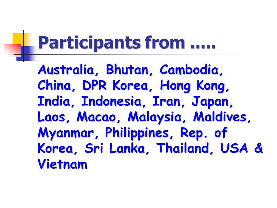Participants from..... Australia, Bhutan, Cambodia, China, DPR Korea, Hong Kong, India, Indonesia, Iran, Japan, Laos, Macao, Malaysia, Maldives, Myanm