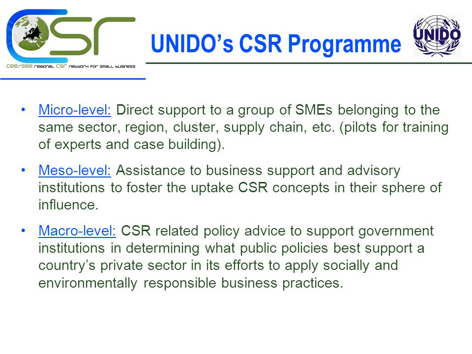 UNIDO's CSR Programme Micro-level: Direct support to a group of SMEs belonging to the same sector, region, cluster, supply chain, etc.