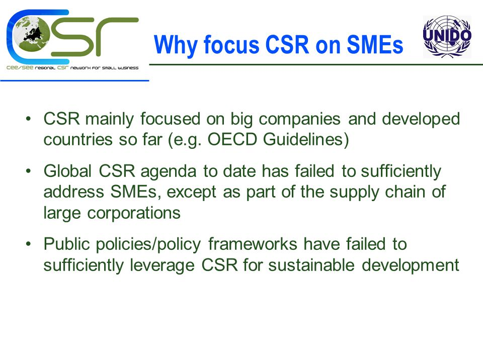Why focus CSR on SMEs CSR mainly focused on big companies and developed countries so far (e.g.