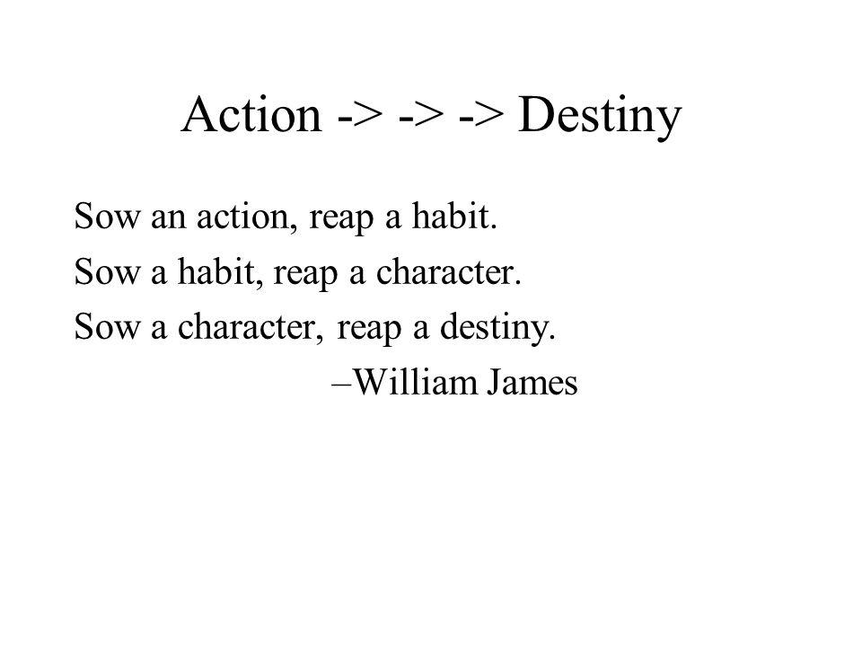 Action -> -> -> Destiny Sow an action, reap a habit.