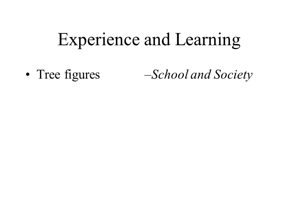 Experience and Learning Tree figures –School and Society