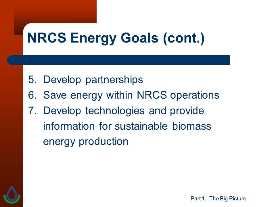 Part 1. The Big Picture NRCS Energy Goals (cont.) 5.