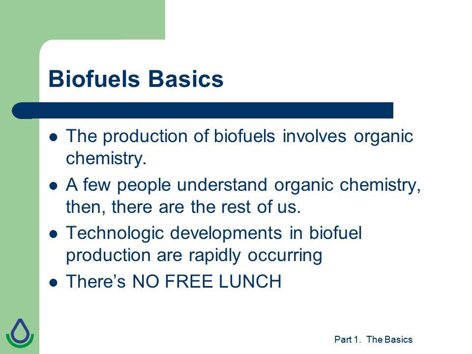 Part 1. The Basics Biofuels Basics The production of biofuels involves organic chemistry.