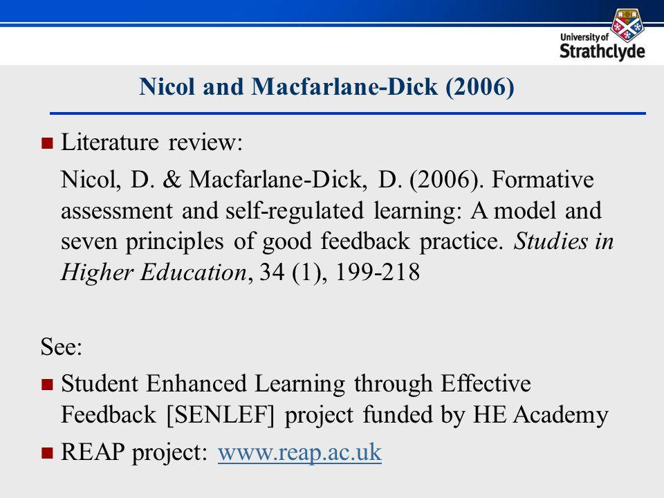 Nicol and Macfarlane-Dick (2006) Literature review: Nicol, D.