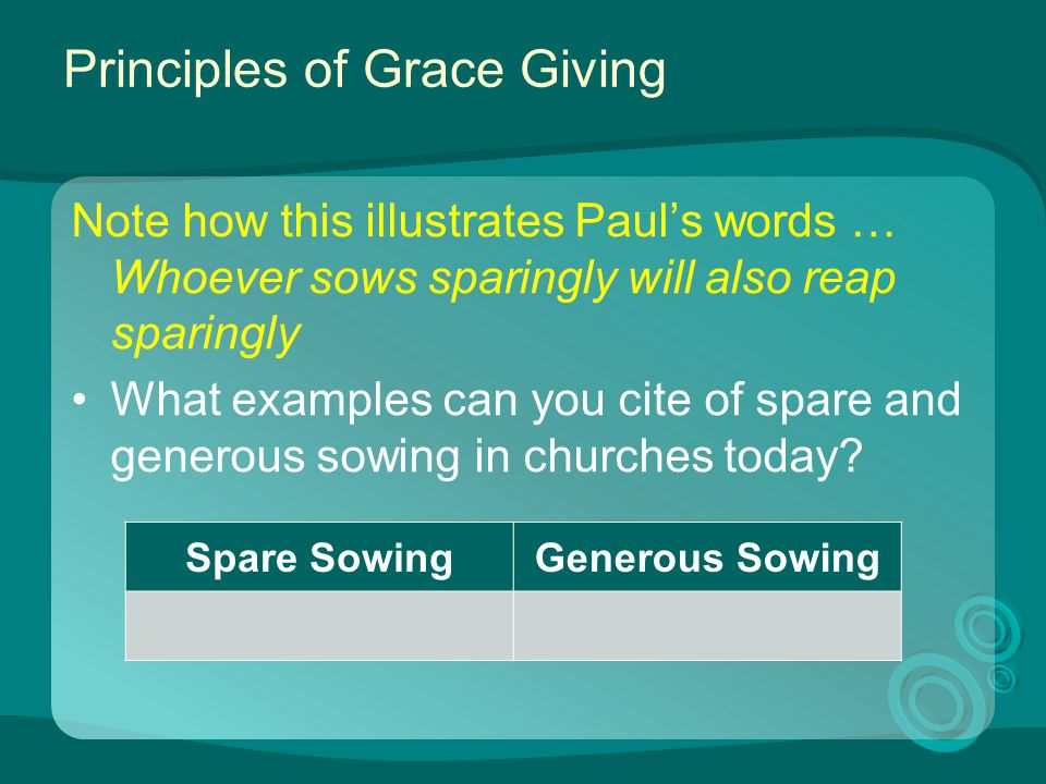 Principles of Grace Giving Note how this illustrates Paul's words … Whoever sows sparingly will also reap sparingly What examples can you cite of spar