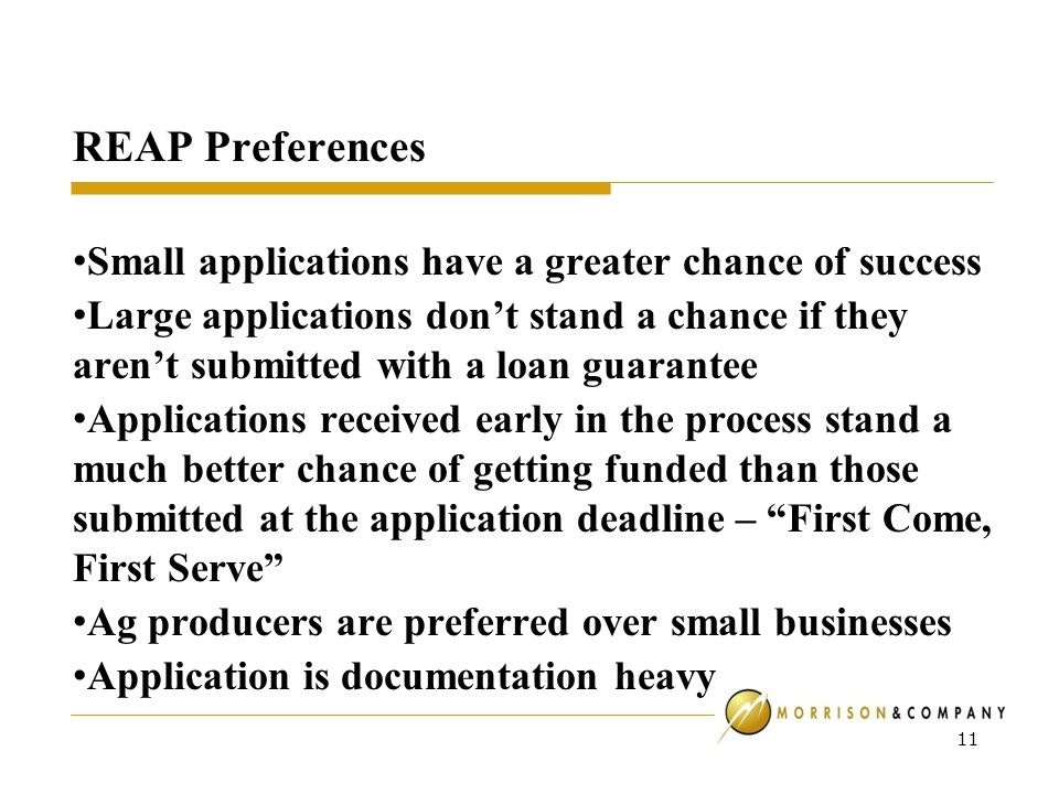 REAP Preferences Small applications have a greater chance of success Large applications don't stand a chance if they aren't submitted with a loan guarantee Applications received early in the process stand a much better chance of getting funded than those submitted at the application deadline – First Come, First Serve Ag producers are preferred over small businesses Application is documentation heavy 11