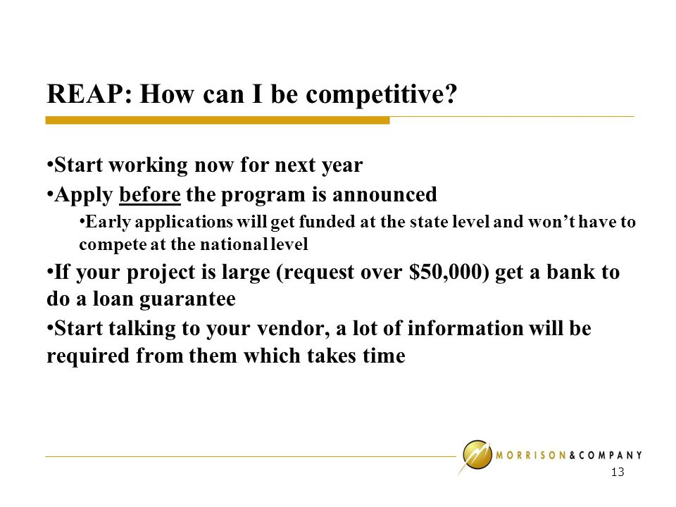 REAP: How can I be competitive.