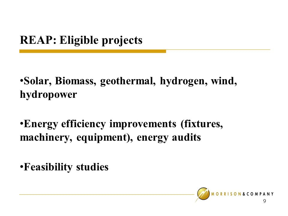 REAP: Eligible projects Solar, Biomass, geothermal, hydrogen, wind, hydropower Energy efficiency improvements (fixtures, machinery, equipment), energy audits Feasibility studies 9