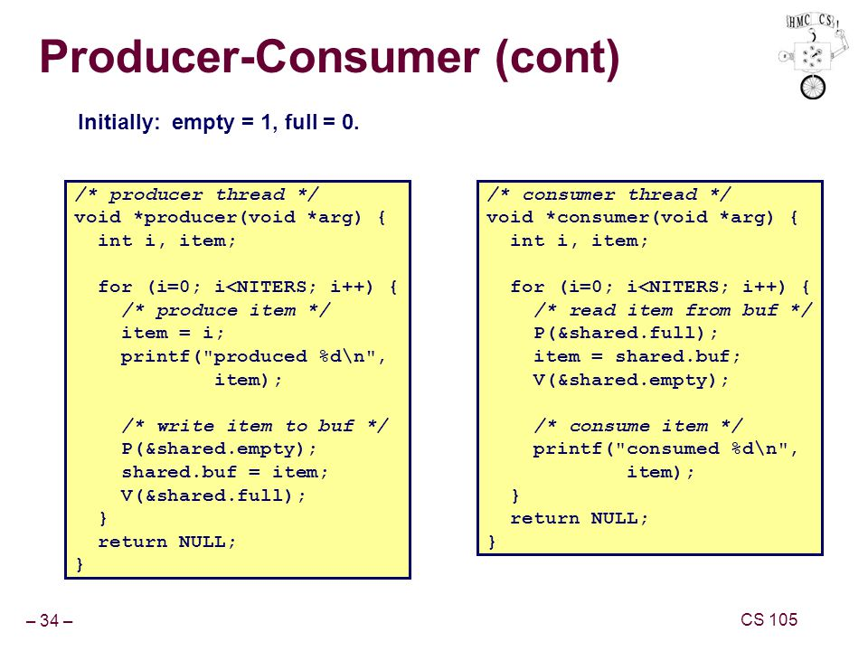 – 34 – CS 105 Producer-Consumer (cont) /* producer thread */ void *producer(void *arg) { int i, item; for (i=0; i<NITERS; i++) { /* produce item */ item = i; printf( produced %d\n , item); /* write item to buf */ P(&shared.empty); shared.buf = item; V(&shared.full); } return NULL; } /* consumer thread */ void *consumer(void *arg) { int i, item; for (i=0; i<NITERS; i++) { /* read item from buf */ P(&shared.full); item = shared.buf; V(&shared.empty); /* consume item */ printf( consumed %d\n , item); } return NULL; } Initially: empty = 1, full = 0.