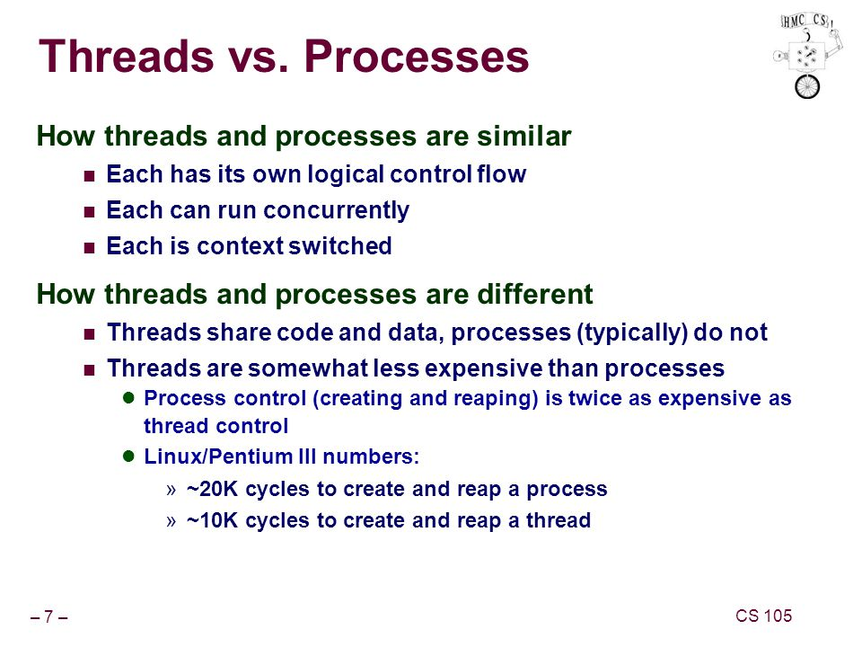 – 7 – CS 105 Threads vs.