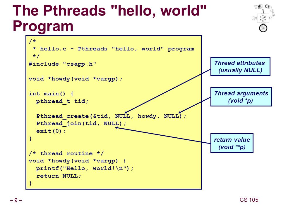 – 9 – CS 105 The Pthreads hello, world Program /* * hello.c - Pthreads hello, world program */ #include csapp.h void *howdy(void *vargp); int main() { pthread_t tid; Pthread_create(&tid, NULL, howdy, NULL); Pthread_join(tid, NULL); exit(0); } /* thread routine */ void *howdy(void *vargp) { printf( Hello, world!\n ); return NULL; } Thread attributes (usually NULL) Thread arguments (void *p) return value (void **p)
