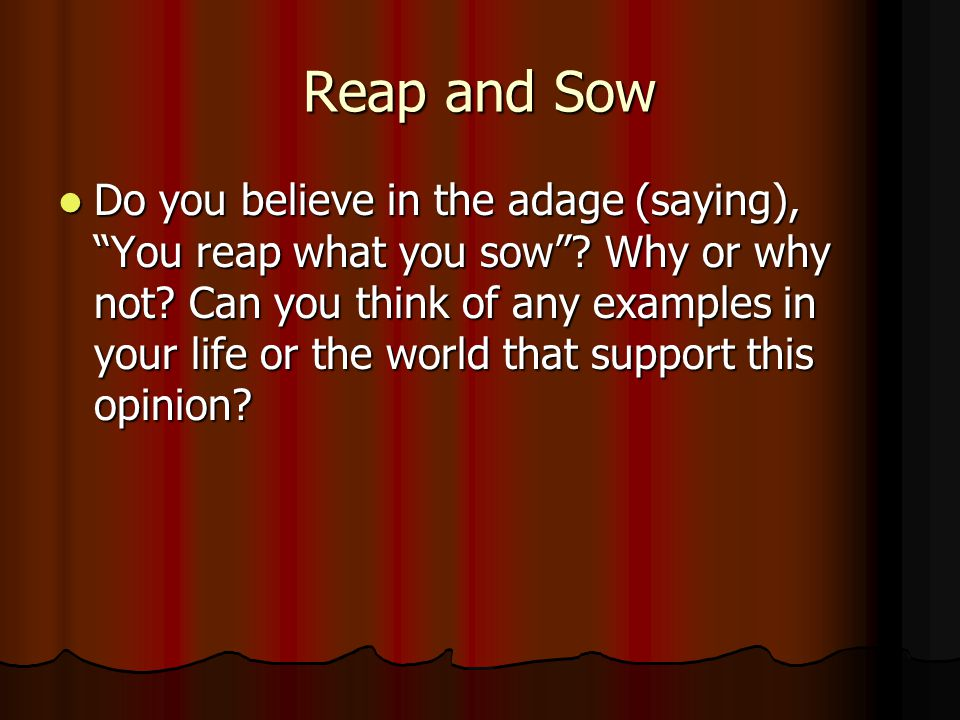 Reap and Sow Do you believe in the adage (saying), You reap what you sow .