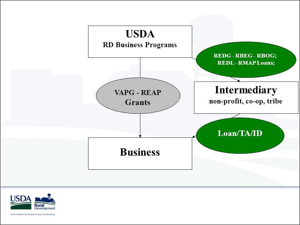 USDA RD Business Programs Business VAPG - REAP Grants Intermediary non-profit, co-op, tribe REDG - RBEG - RBOG; REDL - RMAP Loans; Loan/TA/ID