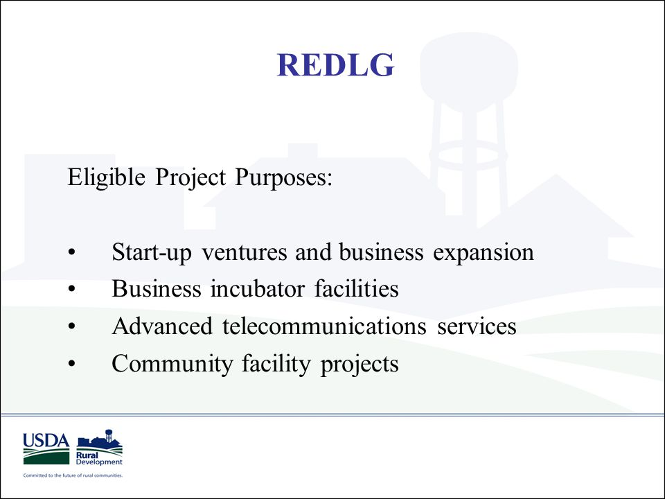 REDLG Eligible Project Purposes: Start-up ventures and business expansion Business incubator facilities Advanced telecommunications services Community