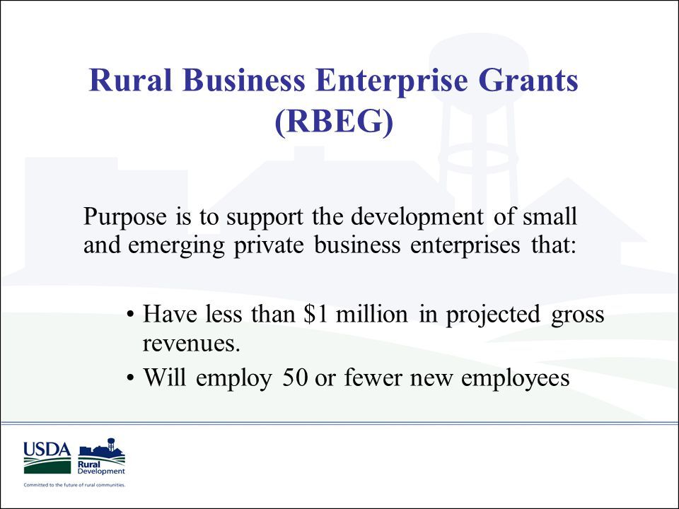 Rural Business Enterprise Grants (RBEG) Purpose is to support the development of small and emerging private business enterprises that: Have less than