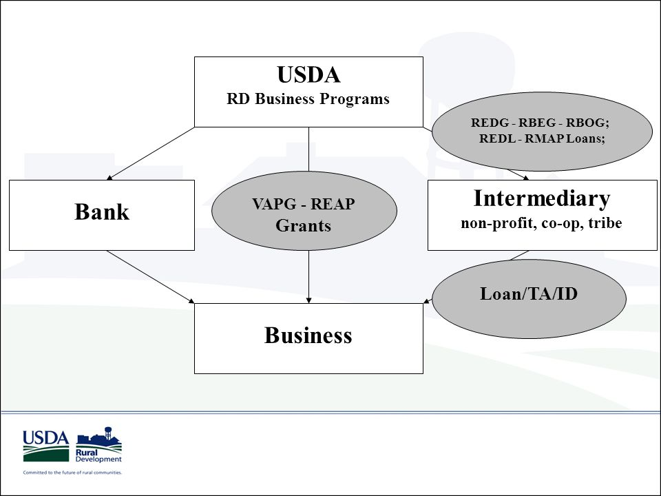 USDA RD Business Programs Business VAPG - REAP Grants Intermediary non-profit, co-op, tribe REDG - RBEG - RBOG; REDL - RMAP Loans; Loan/TA/ID Bank