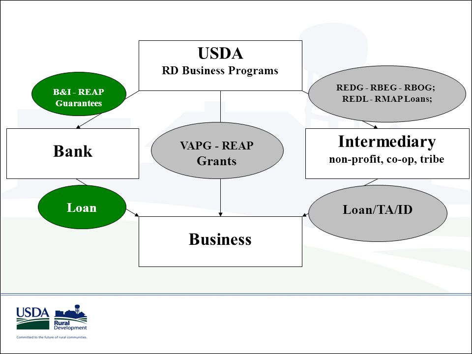 USDA RD Business Programs Business VAPG - REAP Grants Intermediary non-profit, co-op, tribe REDG - RBEG - RBOG; REDL - RMAP Loans; Loan/TA/ID Bank Loa