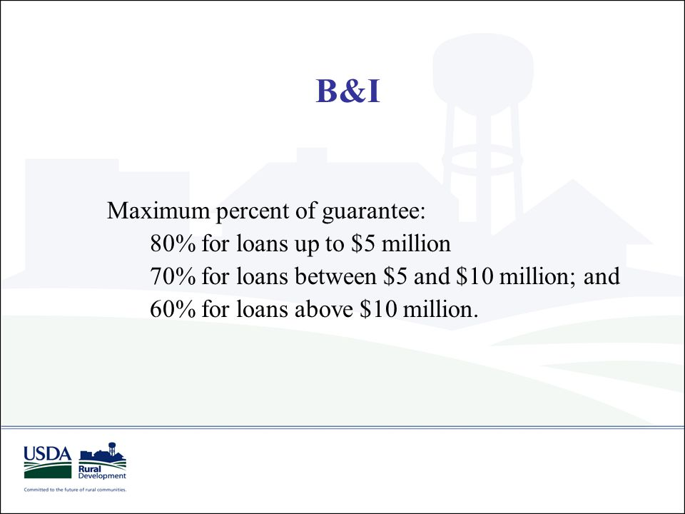 Maximum percent of guarantee: 80% for loans up to $5 million 70% for loans between $5 and $10 million; and 60% for loans above $10 million. B&I