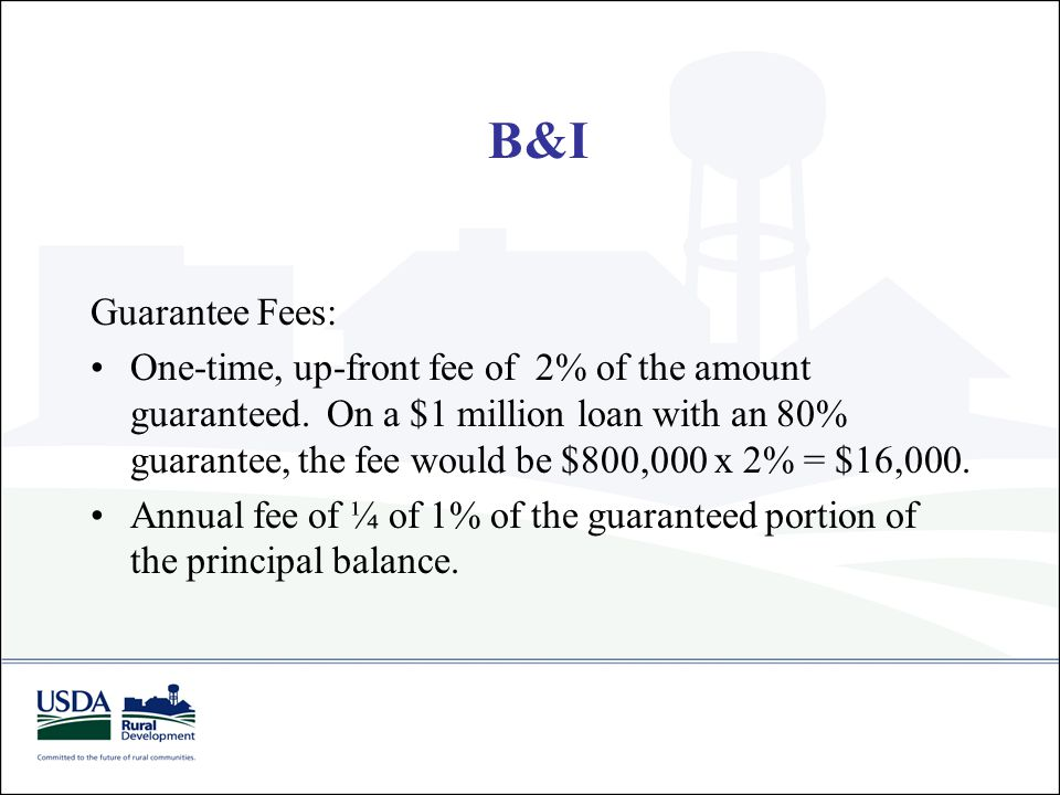 Guarantee Fees: One-time, up-front fee of 2% of the amount guaranteed. On a $1 million loan with an 80% guarantee, the fee would be $800,000 x 2% = $1