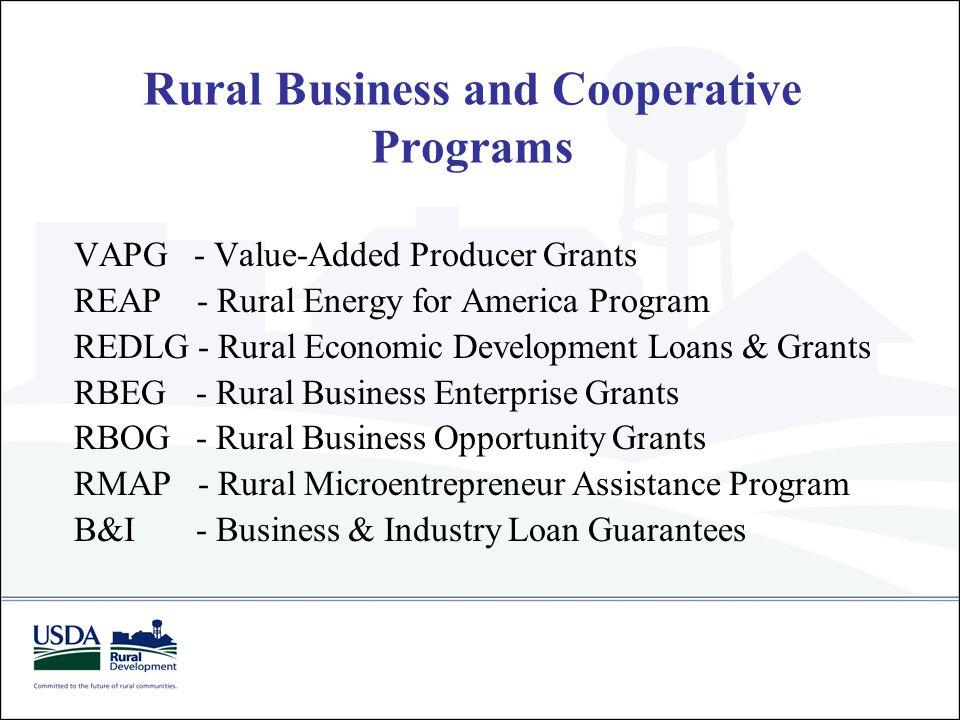 USDA RD Business Programs Business VAPG - REAP Grants