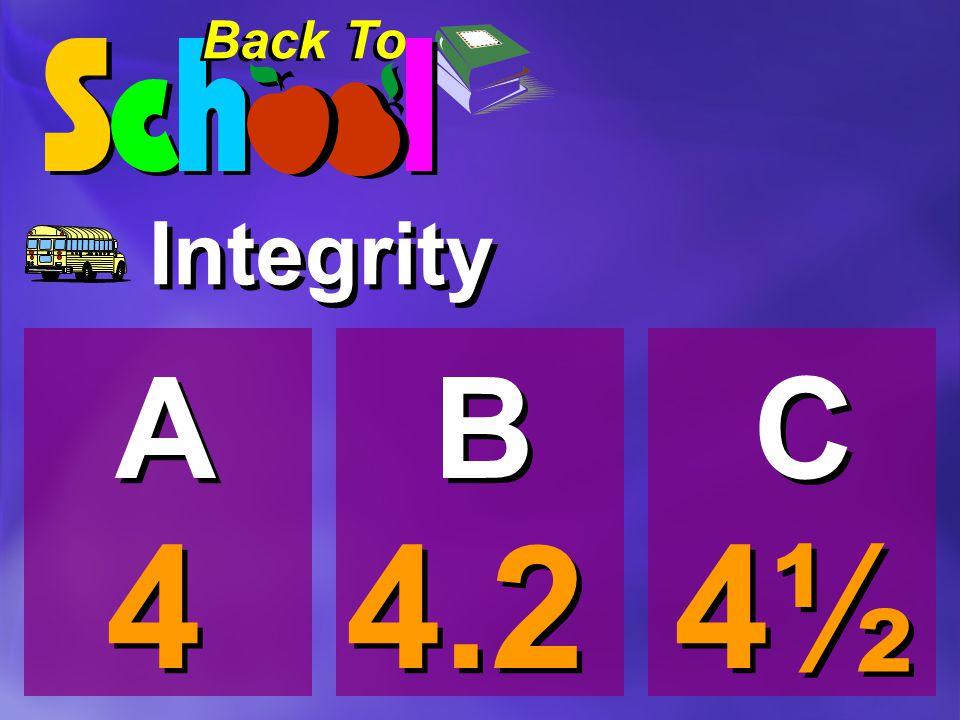 Integrity 4 4 A A 4½ B B C C 4.2