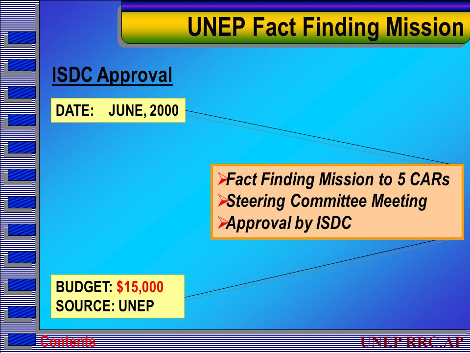UNEP RRC.AP UNEP Fact Finding Mission ISDC Approval DATE: JUNE, 2000 BUDGET: $15,000 SOURCE: UNEP  Fact Finding Mission to 5 CARs  Steering Committee Meeting  Approval by ISDC Contents