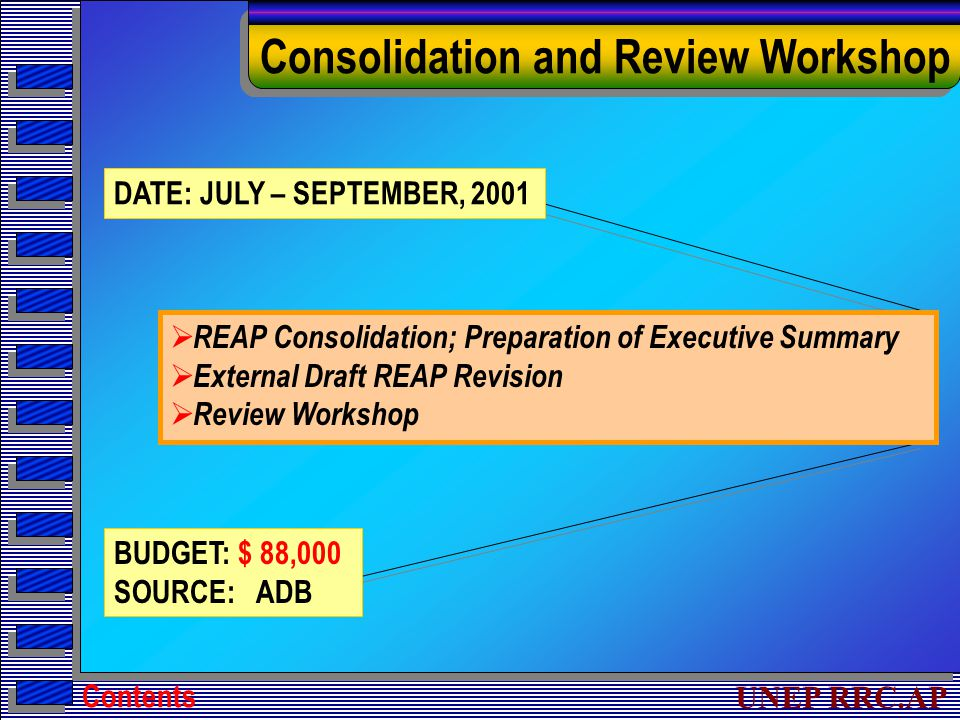 UNEP RRC.AP Consolidation and Review Workshop DATE: JULY – SEPTEMBER, 2001 BUDGET: $ 88,000 SOURCE: ADB  REAP Consolidation; Preparation of Executive Summary  External Draft REAP Revision  Review Workshop Contents