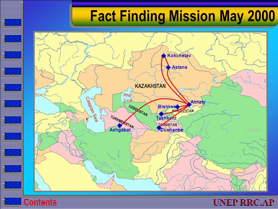 UNEP RRC.AP Fact Finding Mission May 2000 Russia Iran China Russia KAZAKHSTAN AZERBAIJAN TURKMENISTAN KYRGYZSTAN UZBEKISTAN TAJIKISTAN Kokchetav Dushanbe Tashkent Bishkek Astana Ashgabat Aral Sea Caspian Sea        Almaty Contents