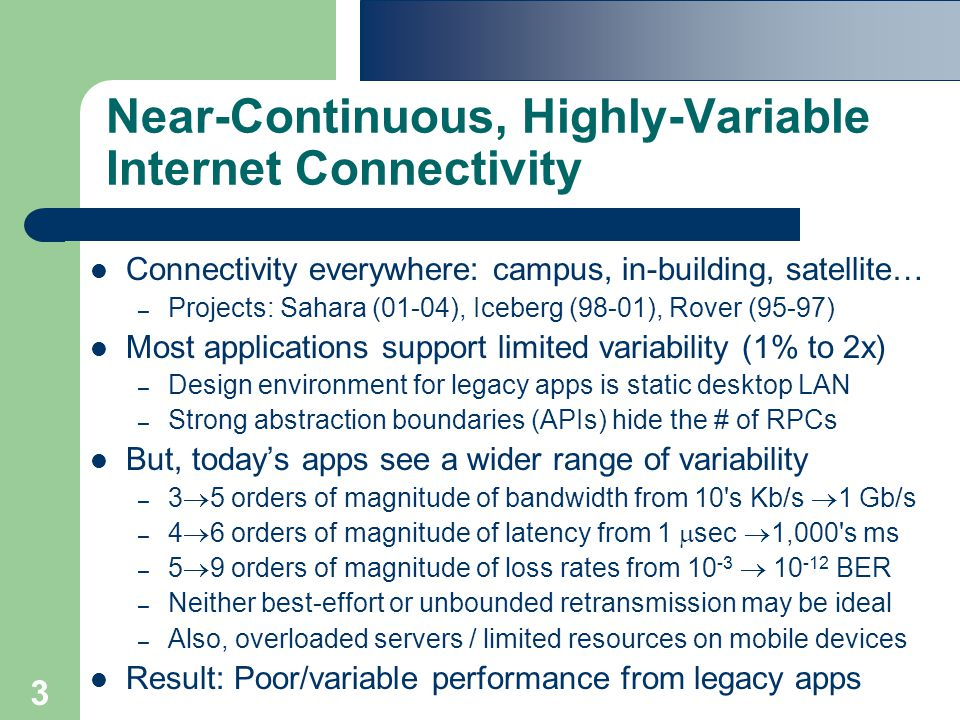 3 Near-Continuous, Highly-Variable Internet Connectivity Connectivity everywhere: campus, in-building, satellite… – Projects: Sahara (01-04), Iceberg (98-01), Rover (95-97) Most applications support limited variability (1% to 2x) – Design environment for legacy apps is static desktop LAN – Strong abstraction boundaries (APIs) hide the # of RPCs But, today's apps see a wider range of variability – 3  5 orders of magnitude of bandwidth from 10 s Kb/s  1 Gb/s – 4  6 orders of magnitude of latency from 1  sec  1,000 s ms – 5  9 orders of magnitude of loss rates from 10 -3  10 -12 BER – Neither best-effort or unbounded retransmission may be ideal – Also, overloaded servers / limited resources on mobile devices Result: Poor/variable performance from legacy apps